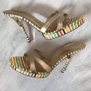 CASADEI Gold Heels Sandals Stilettos RARE Shoes!